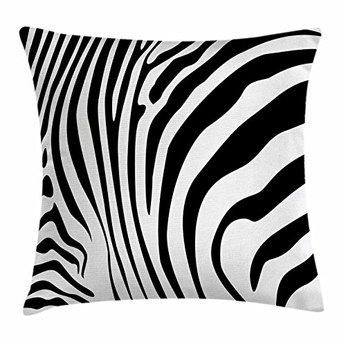 (Lunarable Zebra Print Throw Pillow Cushion Cover, Animal Skin Pattern Nature and Desert Life Theme Simplistic Illustration, Decorative Accent Pillow Case, 26 W X 16 L Inches, Black and White)