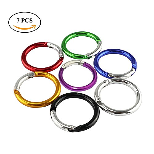 35 Mm Pastel (Hamosky Round Shaped Gift Aluminum Alloy Carabiner Hook Snap Clip Key Holder Keychain Tool Party Favors Camping Hiking Backpack Accessory Pastel ,Pack of 7)