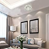 Modern LED Crystal Chandelier Aisle Ceiling Lighting Round Pendant Lamp Balcony Light(White Light)