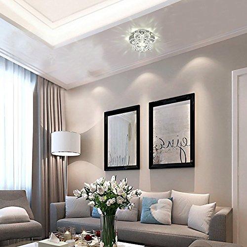 modern led crystal chandelier aisle ceiling lighting round pendant lamp balcony light white light - Modern Crystal Chandeliers