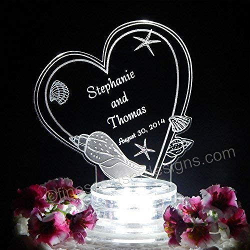 Personalized Beach Wedding Acrylic - Seashell Heart Lighted Wedding Cake Topper Acrylic Cake top