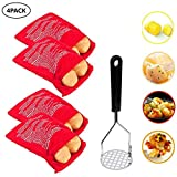 FarWarm 4 Pack Microwave Potato Bag Reusable Potato Baking Bag Potato Masher Stainless Steel Potato Pouch Cooker Bag Perfect for Potatoes Just in 4 Minutes