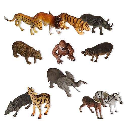 Vlish Zoo Animal Toy Figures - Set of 12   Jungle Animals Play for Kids - Great Stocking Stuffers, Easter Basket Toys