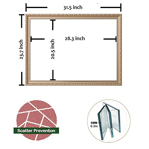 "Hans & Alice Christmas Deal! Large Rectangular Bathroom Mirror, Wall-Mounted Wooden Frame Vanity Mirror, Gold (32""x24"")"