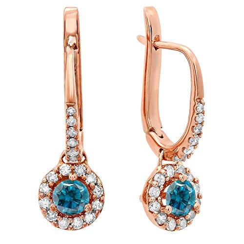 (Dazzlingrock Collection 0.45 Carat (ctw) 18K Round Blue & White Diamond Ladies Halo Drop Earrings 1/2 CT, Rose Gold)