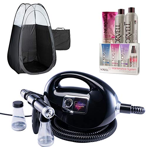 Black Fascination Spray Tan Machine, Black Tent, Norvell Tan Solution Sunless Kit
