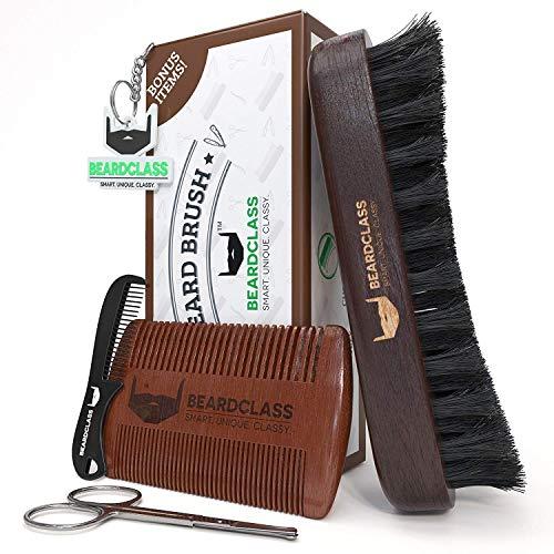 BEARDCLASS – Beard Brush and Comb – 100% Wooden Boar Bristle Beard Brush Kit Set with Curve Contour for Maximum Grip – Bonus Items: Beard Comb, Mustache Comb and Scissors Set- Beard Care Grooming Kit