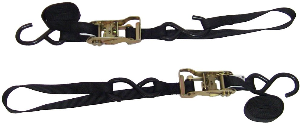 Ancra 49498-11 Black 1'' x 69'' Ratcheting Buckle Tiedowns with Integrated Soft Hooks