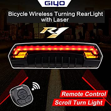 GIYO Bicycle Rear Tail Light Remote Control Seatpost Lamp USB Rechargeable Light