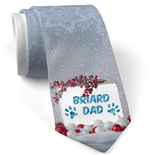 - Christmas NeckTie Dog & Cat Dad Briard White with Snow