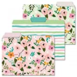 12 Painted Florals File Folders - Set of 12 (3 Designs) 1/3 Cut Staggered Tabs, Letter-Size Designed Folders