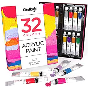 Acrylic Paint Set (32 Colors, 22 ml Tubes, 0.74 oz.) for Canvas, Crafts, Wood Painting – Rich Pigment, Non Fading, Vibrant Non Toxic Paints for Kids, Adults, Beginner & Professional Artists