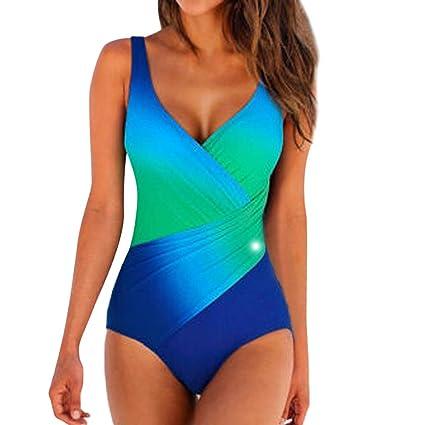 SMILEQ Bikini con Traje de baño Bandeau Acolchado Push up de Playa ...