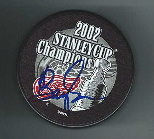 Barry (Colorado Rockies) Smith Autographed Puck - Detroit Red Wings 2002 Stanley Cup Championship - Autographed NHL Pucks
