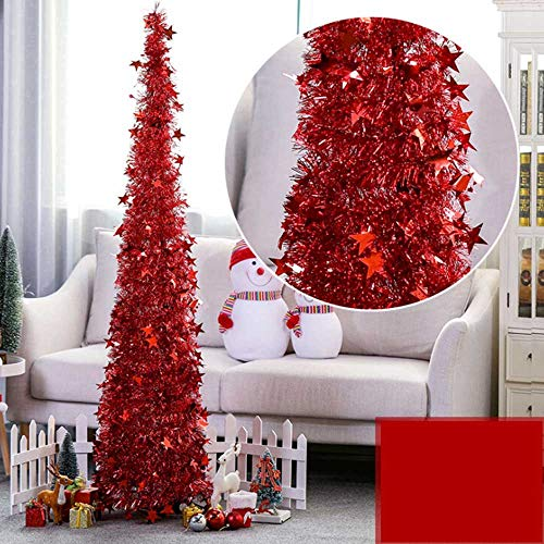 3.9ft Pop Up Christmas Tree, Collapsible Shiny Tinsel Xmas Tree with Reflective Sequins and Stand, Glittering Artificial Tree for Small Apartment Party Wedding Fireplace New Year Wedding Decoration