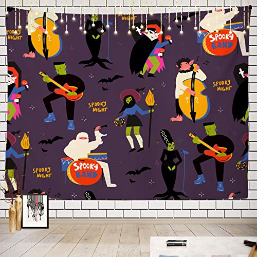 Batmerry Music Tapestry, Frankenstein and Dracula Halloween Picnic