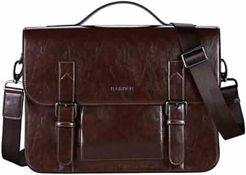 Banuce Vintage Pu Leather Tote Briefcase Shoulder Messenger Bag