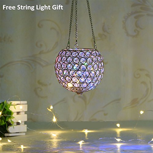 VINCIGANT Gold Hanging Crystal Candle Lantern Flower Vase for Easter Decorations with Chain & Hook,6 Inches Diameter with Multi Colored LED Starry Copper Wire String Lights