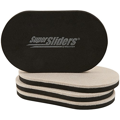 "SuperSliders 4705195N Reusable Felt Sliders for Hard Surfaces – Move Heavy Furniture Quickly and Easily with Furniture Sliders 3-1/2"" x 6"" Small Oval  (4 Pieces)"