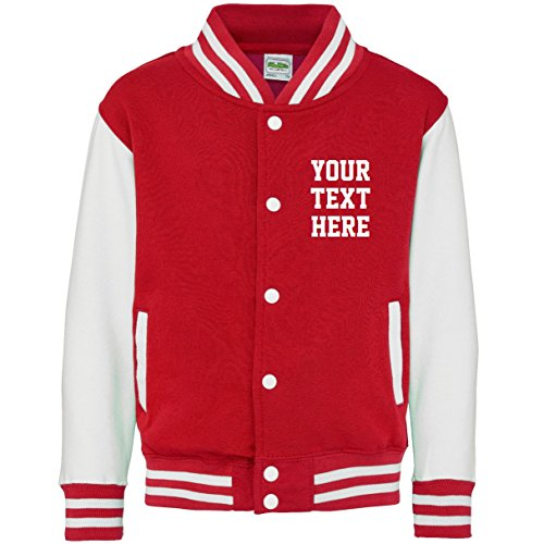 (Personalized Kids Varsity Jacket (9-11 Years, Fire Red/White))