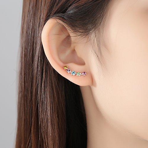 8725ad0fba7d JORA 18K Rose Gold  amp  Sterling Silver Created Round Opal Birthstone  Gemstone Stud Earrings for