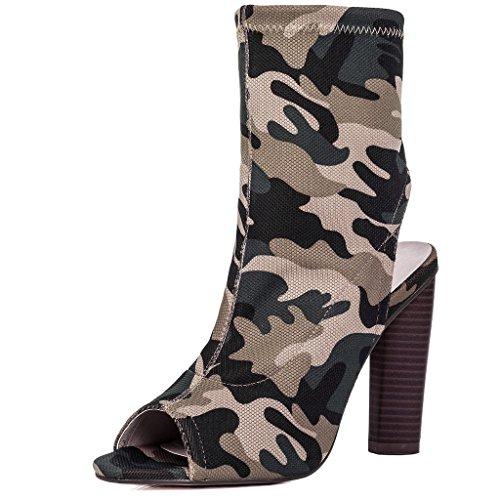 SPYLOVEBUY MAPLE Mujer Peeptoe Tacón Bloque Botes Bajas Zapatos Camouflage - Sintética