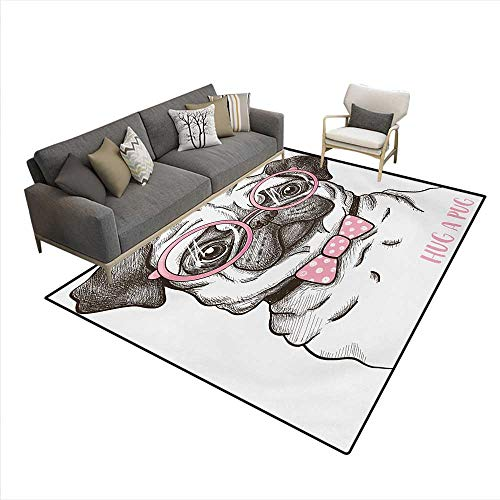 Carpet,Cute Pet Dog with Pink Bow Tie Oversized Glasses Hand Drawn Domesticated,Rug Kid Carpet,Brown Pale Pink White,6