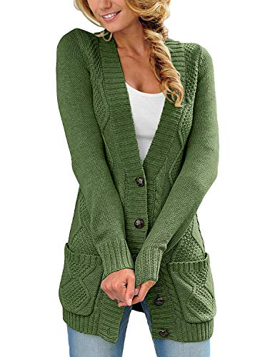 (luvamia Womens Fern Green Casual Long Sleeve Open Front Buttons Cable Knit Pocket Sweater Cardigan Outwear Size S(US 4-6))