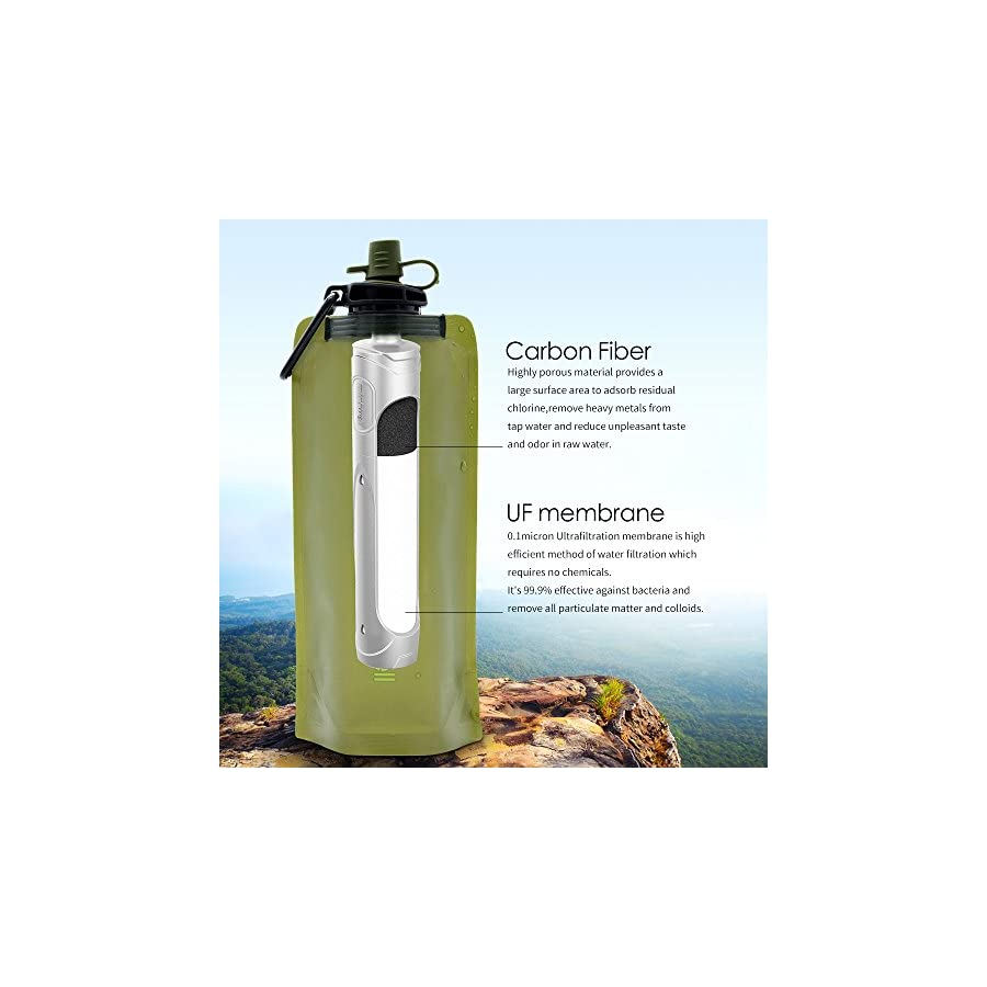 miniwell Collapsible Water Filter Bottle Personal 2 Stage Filtration System, Long Lasting Odor Free Water for Camping, Hiking, Travel and Survival. SGS Proven 99.9% Removal Rate of Bacteria