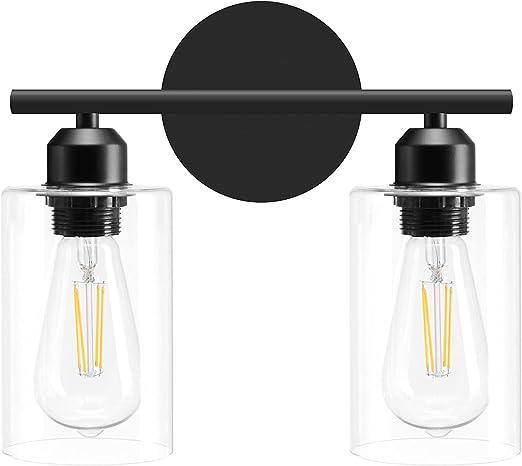 Danshinro 2 Light Bathroom Vanity Light Fixtures Matte Black,Farmhouse Two Bulbs Vanity Light Over Mirror/Sick Modern Industrial Wall Lamp Hallway lamp for Bath Room with Glass Shade