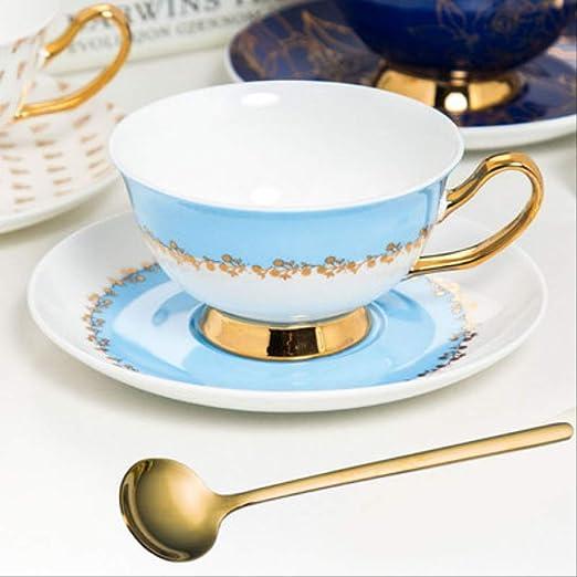 British Style Bone China Taza De Café con Cuchara De Oro Tarde ...