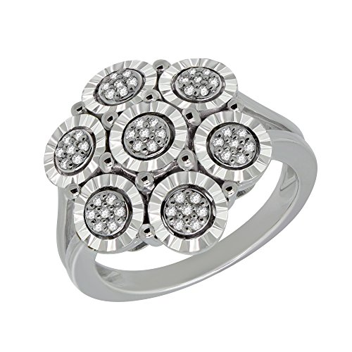 omega jewellery Sterling Silver Round 0.16 Ct Diamond Cluster Engagement Ring For Women (Size - (Omega Diamond Ring)