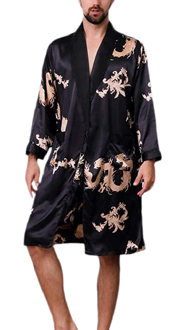 Yayu Mens Nightwear Bathrobe Stain Long-Sleeved Belted Printing Kimono Robe