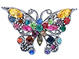 Alilang Silvery Tone Rainbow Multi Colored Rhinestone Butterfly Insect Bug Wings Brooch Pin