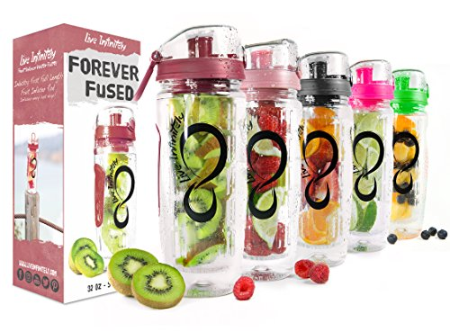 (Live Infinitely 32 oz. Infuser Water Bottles - Featuring a Full Length Infusion Rod, Flip Top Lid, Dual Hand Grips & Recipe Ebook Gift (Dark Red, 32 oz))