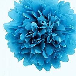Quasimoon PaperLanternStore.com 16'' Turquoise Tissue Paper Pom Poms Flowers Balls, Decorations (4 Pack) (Pre-Folded)