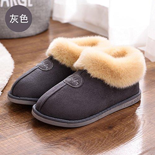 Baumwolle Warme und Hausschuhe Paket Anti weiblich slip mit Baumwolle Home minimalistische winter Herbst Winter Liebhaber DogHaccd Grau1 Home dicke aus Hausschuhe indoor Hausschuhe q47YHY