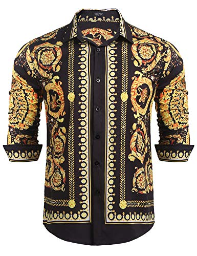COOFANDY Men's Floral Dress Shirt Long Sleeve Slim Fit Casual Fashion Luxury Printed Button Down Shirt (XX-Large, Black(Type 3))