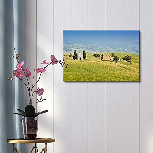 Beautiful landscape with Cappella della Madonna di Vitaleta in Val d Orcia Province of Siena Tuscany Italy Wall Decor