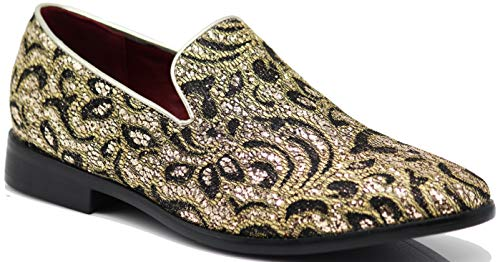 SPK05 Men's Vintage Satin Silky Floral Print Embroidery Dress Loafers Slip On Shoes Classic Tuxedo Dress Shoes (10.5 D(M) US, Gold) ()