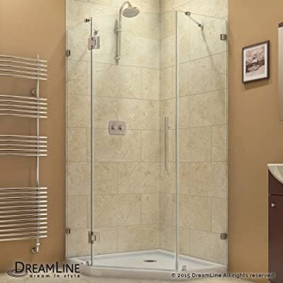 """DreamLine Prism Lux 34 5/16 in. D x 34 5/16 in. W, Frameless Hinged Shower Enclosure, 3/8"""" Glass, Chrome Finish by Dreamline"""
