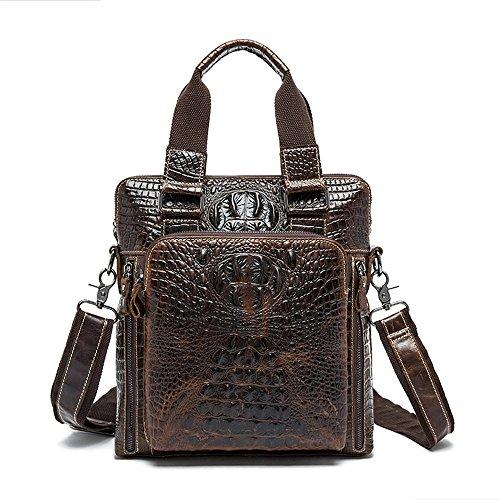 Techecho Men's Vintage Leather Satchel Briefcase Embossed Crocodile Pattern Shoulder Handbag Messenger Tote Bag for 9.7