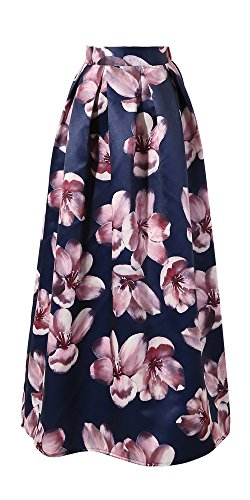Samuume Women Fashion Elegant Floral Printed Long Skirts (Free Size, Blue4) by CHICING