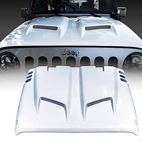 Sport Hood Fiberglass - Xprite Fiber Glass Hood for 2007-2018 Jeep Wrangler JK JKU Rubicon Sahara Freedom Sport - Combat Series