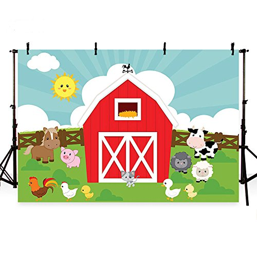 MEHOFOTO Photo Background Cartoon Farm Animals Grass Children Birthday Party Decoration Banner Backdrops for Photography 7ftx5ft