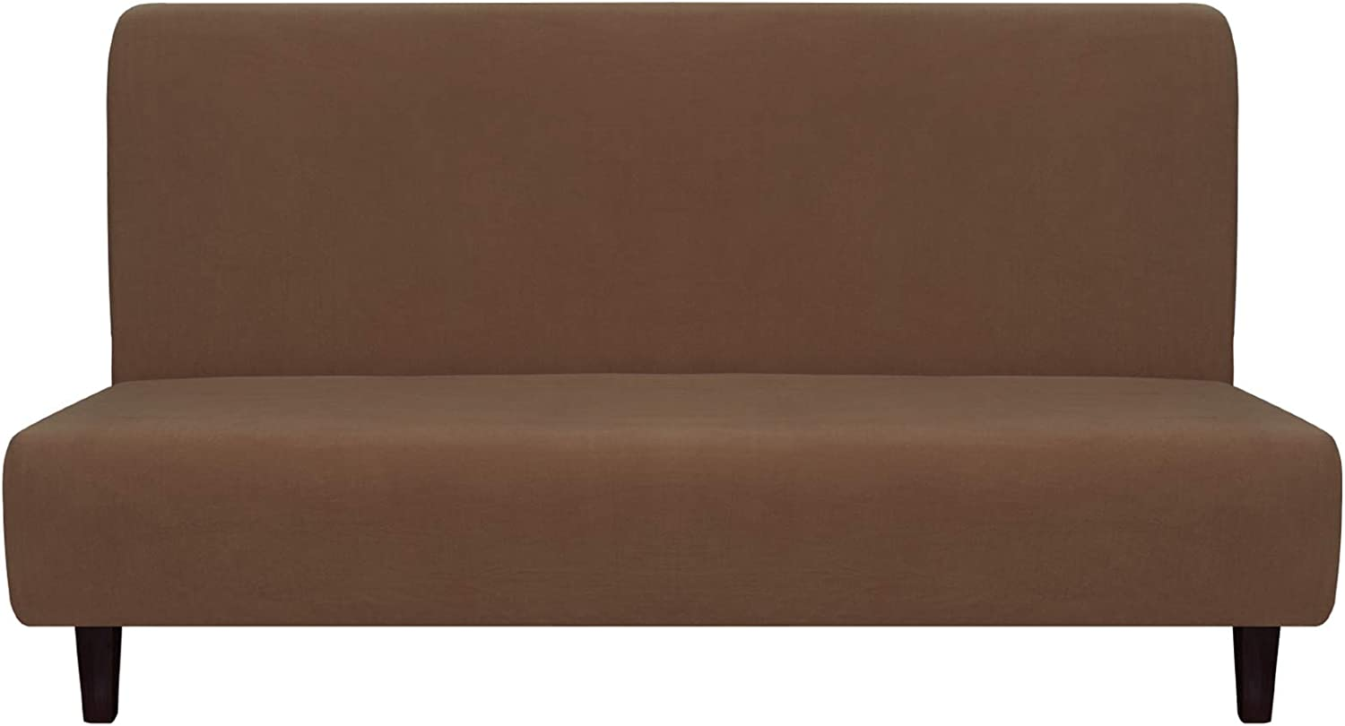 Easy-Going Fleece Stretch Sofa Slipcover – Spandex Anti-Slip Soft Couch Sofa Cover, Armless Washable Furniture Protector with Elastic Bottom for Kids, Pets(Futon,Brown)