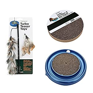 Turbo Cat Scratcher Cardboard(color may vary) - Eco-Friendly, bundle with Cat Scratcher Replacement Pad(1 pack), and Teaser Cat Toy Interactive.