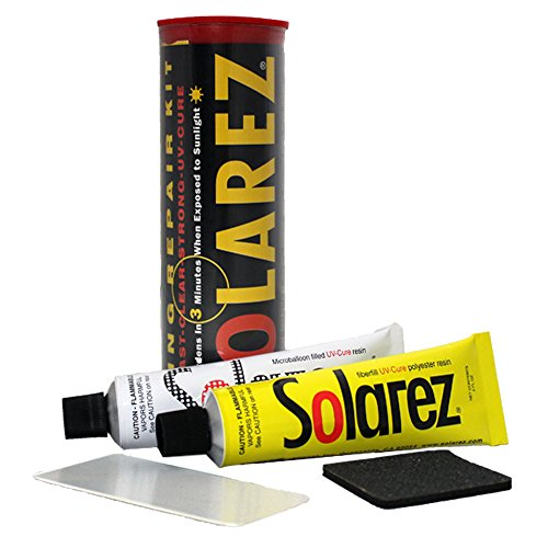 - SOLAREZ UV Cure Surfboard Ding Repair Econo Travel Kit - Polyester and Polyester Microlite Filler Tubes + Sanding pad + Spreader Card