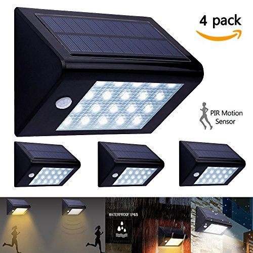 4 LEDs Solar Powered PIR Sensor Wall Light for Outdoor - 5