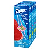 Ziploc Freezer Bags with Double Zipper Seal and Easy Open Tabs, Large, 75 Count (3x25ct) value pack